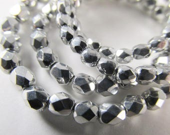 Silver Czech Glass 3mm or 4mm Fire Polished Faceted Jewelry Beads (50)