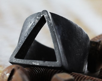 Triangle Ring Black Ring Triangle Rings Geometric Ring Triangle Black Rings Black Triangle Ring Mens Ring Mens Black Ring Rustic Ring