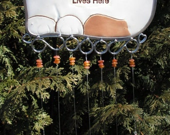 Spoiled Rotten Cat Wind Chime with Stained Glass Chimes