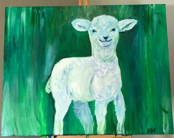 Original Lamb, Acrylic on Wrapped Canvas, 20x30