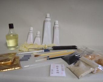 Deluxe kintsugi set, honurushi lacquer,  pdf instruction book, pure gold powder, professional quality,repair kit kitsuroi