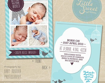 5x7 Birth Announcement Template (Baby Announcement) - Photoshop Template for photographers (BA6B) - INSTANT DOWNLOAD