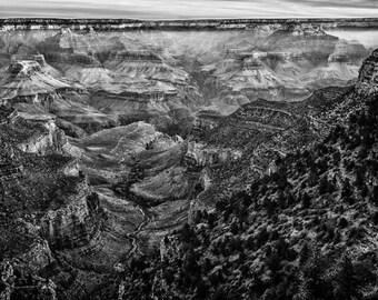 Grand Canyon Photo, Nature Landscape Photography, Black and White Nature, Minimalist Landscape, Nature - 8x12 fine art photograph