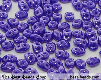 25g (300pcs) Lustered Blue Super Duo Czech Glass Seed Beads 5x2.5mm