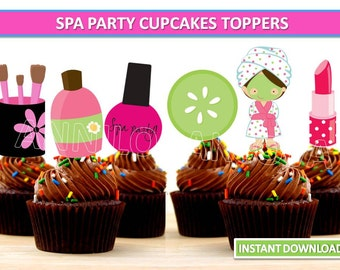 Spa Party Cupcake toppers/ Spa Printables/ Spa Party Cake Toppers/ Spa cupcake toppers, Instant Download/ You Print 60% OFF