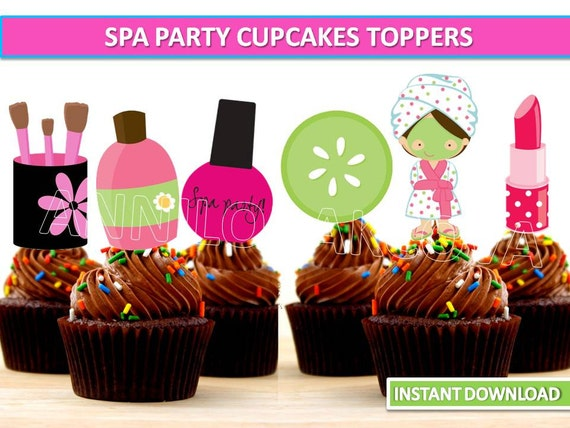 Spa Party Cupcake toppers Spa Printables Spa Party Cake
