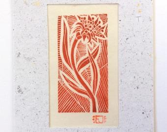 mini linocut - WILDFLOWER // 5x7 art print // printmaking // block print // red // flower art // original art // miniature, small