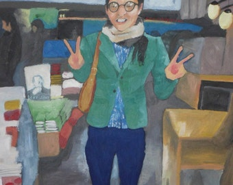 Original Oil Painting - 'Well dressed Japanese boy, 3am, Starbucks Osaka' (FRAMED) genderqueer, yaoi, Bishonen, pretty