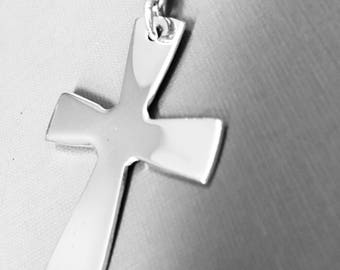 Hand created - Argentium® Silver Cross with Bail - 2 inches including bail - with 3.2mm Argentium Cable Chain