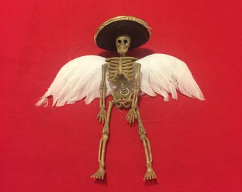 Day of the dead skeleton ornament with white fewthered angel wings #2