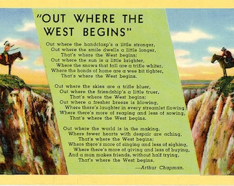 Out Where the West Begins Poem Arthur Chapman Vintage Western Postcard 1940s (unused)