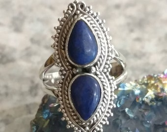 Two Stone Lapis  Ring Size 6