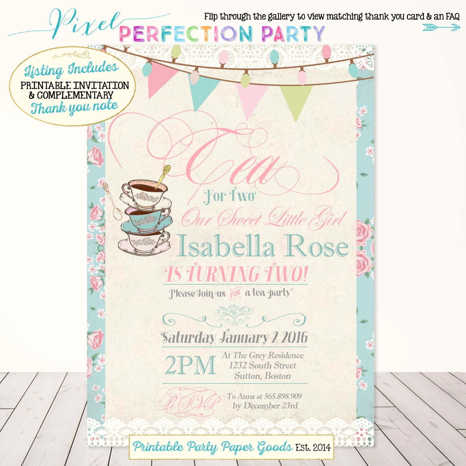 Tea Party Birthday Invitation For Two