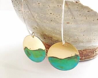 Ocean Tide Circle Dangle Earrings