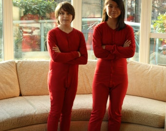 Adult one piece red long john, with a square hatch. 100% Organic Cotton, made in Vancouver Canada