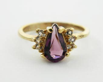 Vintage Amethyst Pear CZ Ring - Size 7 Ring - VPE215