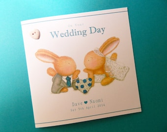 Personalised Wedding Card – Bobby and Bella Heart Wreath Wedding Card -Bobby Bunny and Friends Illustrated Luxury Card Range by Jenny Keelan