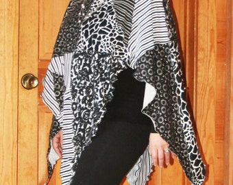 Unique Black and White Fantasy Funky Womens Poncho Tunic made from 100% upcycled fabrics one-of-a-kind MEDIUM