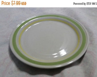 On Sale Encompass Oven to Table Dishwasher Safe 7.5 inch Stoneware Salad/Dessert Plate Off White with Yellow and Bright Green Rim Made in Ja