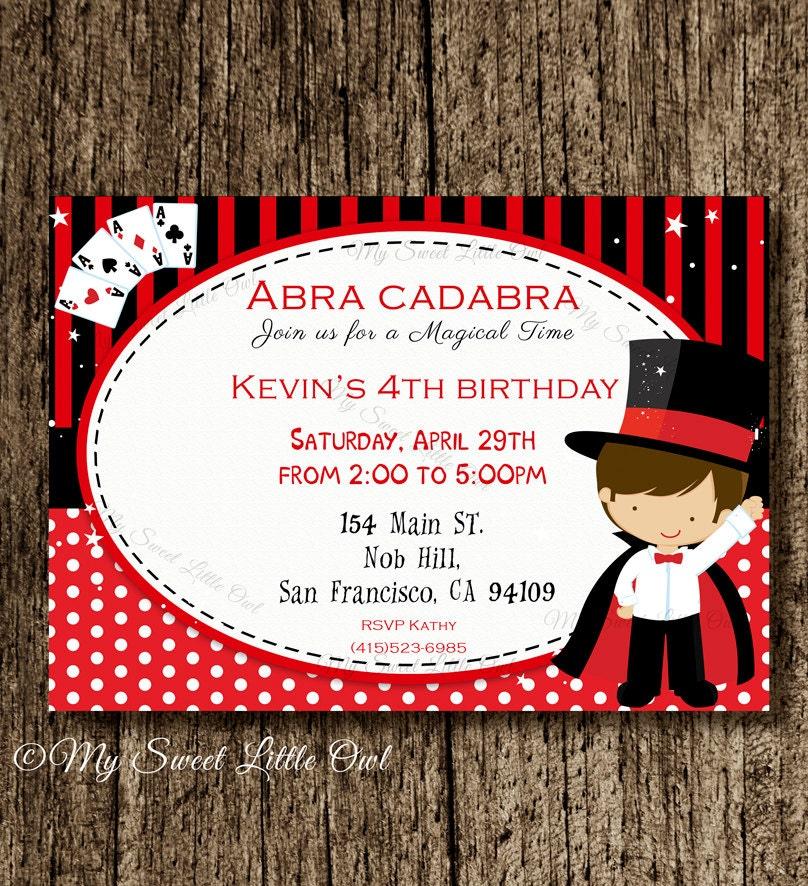 Magic invite magician boy printable invitation Magic