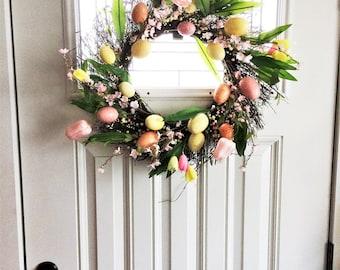 Tulip Spring Wreath, Spring Decor, Spring Tulip Wreath, Summer Wreath, Front Door Wreath, Easter Decoration, Outdoor Wreath, Easter Wreath
