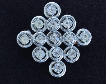 Rhinestone Contemporary Brooch, Pin, Silver tone, Vintage (Y16)