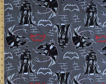 Batman v Superman Fabric, Dawn of Justice Fabric, Grey Batman Fabric, Batman v Superman Grey Batman Fabric from Camelot Fabrics