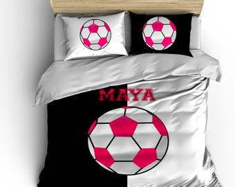 Custom Soccer Bedding, It's Black and White Girls Version, Personalized with your Name -Toddler, Twin, F-Queen or King Size -Change colors