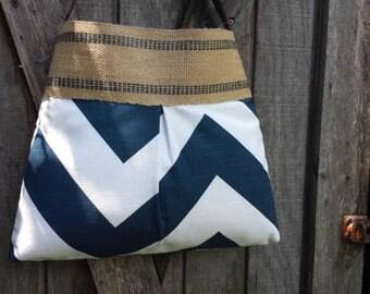 Blue and White Large Chevron Zig Zag Pleated Handbag Purse Tote Bag with Jute Webbing
