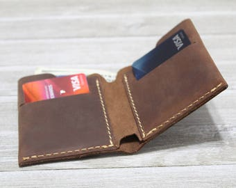 Minimalist Billfold Wallet, Distressed Leather Wallet, Minimalist Classic Billfold, Classic Leather Wallet