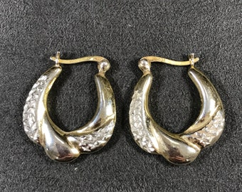 """0.75"""", gold over Sterling silver earrings, solid 925 silver twisted hoops, stamped 925"""