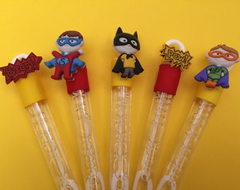 Superhero Bubble Wand Party Favor with Superhero Charm - Red, Yellow and Blue Superhero Party Favors, Superhero Theme Party Supplies