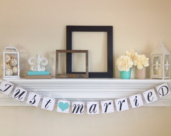 Just Married Banner -Just Married Sign - Wedding Decoration - Just Married Car Sign - Wedding Photo Prop, Lt. Teal Wedding Decorations