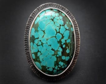 Green and Blue Himalayan Turquoise Ring Size 9