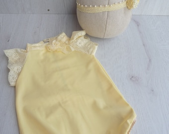 Yellow romper baby newborn,Free shipping,yellow romper set, photo props,baby outfit