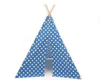 SALE!! Poles Included Blue Medium Cross Four Panel Teepee Style Play Tent