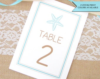 Beach wedding table numbers - Starfish table cards - Beach table numbers - Table numbers beach wedding