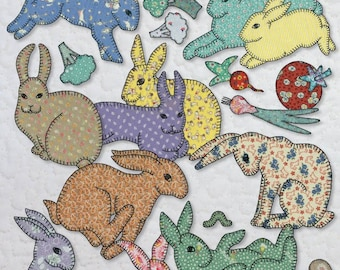 Quilt Book -- Grandma's Bunnies -- Applique Rabbits Quilting Pattern Book -- Easy Beginner Level Applique Bunny Quilt Pattern Book