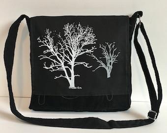 Sycamore and Walnut Tree Messenger Bag Black  12 x 12