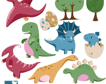 Baby Dinosaur - Digital Clip art / Scrapbook  - card design, invitations, stickers, paper crafts, web design - INSTANT DOWNLOAD