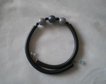 Black and grey handle wrap bracelet