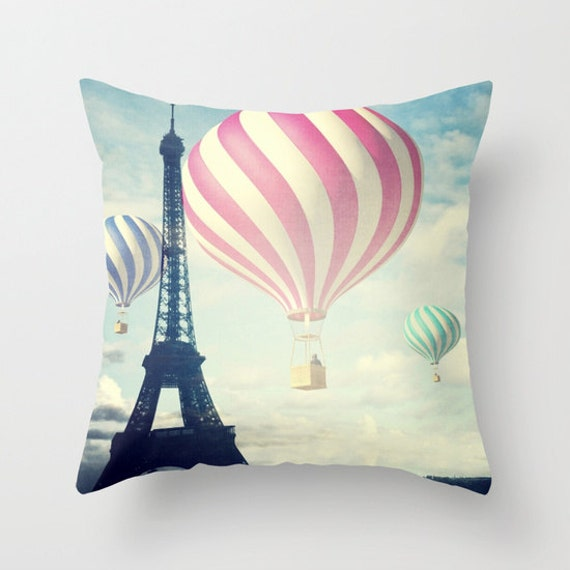 Hot Air Balloons Throw Pillow, Paris pillow, Decorative Pillow, Eiffel Tower Cushion, Whimsy, Office, Nursery, Whimsical, Dorm, Mood, Love