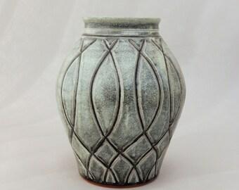 Gray Pottery Vase, Hand Carved Round Ceramic Vase