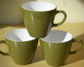 """Centura by Corning Olive Green Cups or Mugs with White Interiors, 3-3/8"""" Diameter x 3"""" Tall, Set of 3"""