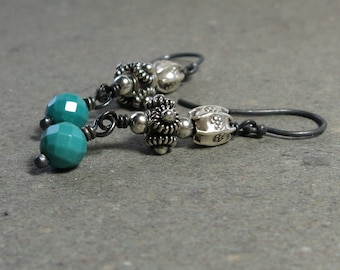 Turquoise Earrings Long Sterling Silver Tribal Oxidized Gift for Girlfriend