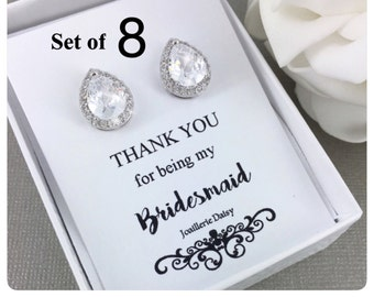 Set of 8 Bridesmaid Earrings Stud Earrings Cubic Zirconia Maid of Honor Earrings Bridesmaid Gift for Her Sterling Silver Earrings Jewelry