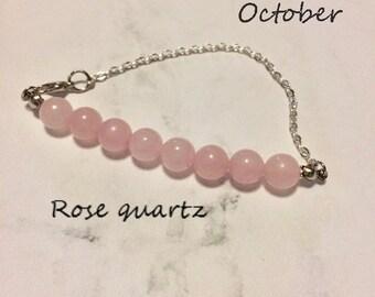 crystal healing rose quartz bracelet/anklet/necklace, birthdtone bracelet, gemstone bar bracelet/necklace