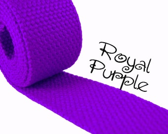 """Cotton Webbing - Royal Purple - 1.25"""" Medium Heavy Weight for Key Fobs, Purse Straps, Belting - SEE COUPON"""