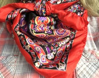 Red, black, & purple silk wild rag or scarf.