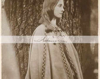 Digital Download Printable Art - Margaret Antique Sepia Photograph Portrait Woman by Tree - Paper Crafts Scrapbook Altered Art